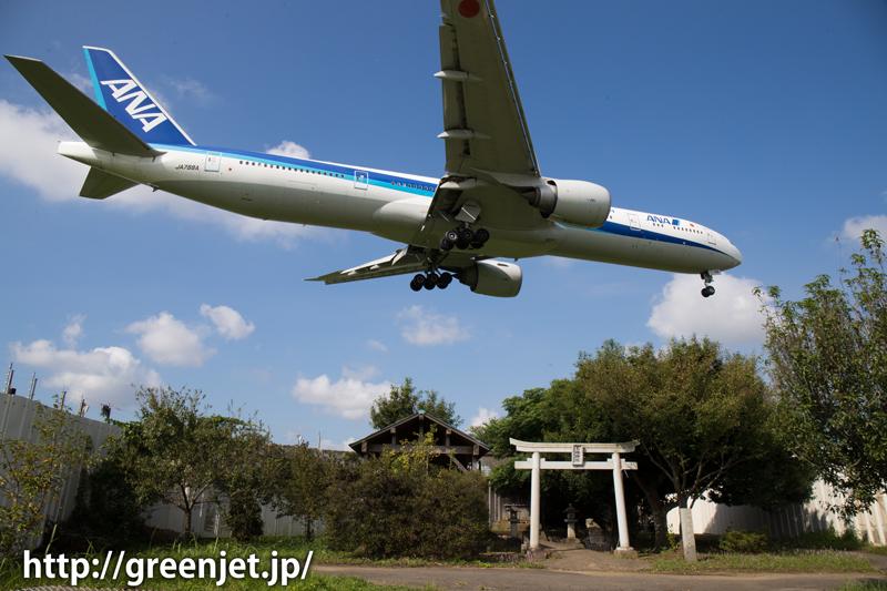 成田 東峰神社にて JAL 777-381/ER