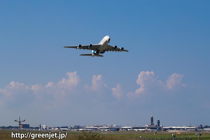 マレーシア航空のエアバスA380 成田空港にて RWY16Rからテイクオフ