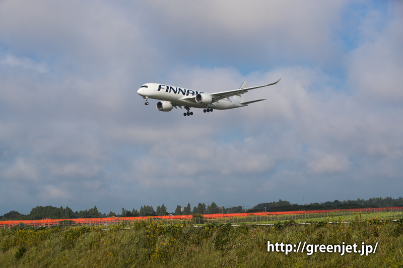 成田空港RWY16LへファイナルアプローチするフィンエアーのエアバスA350