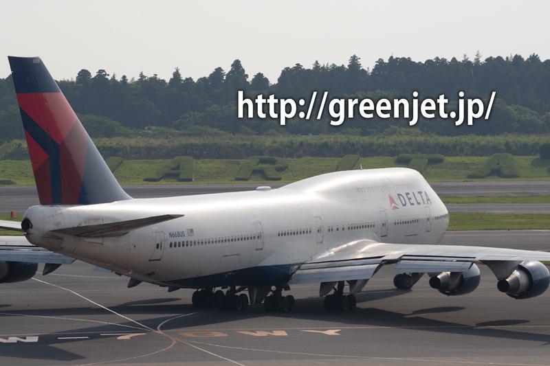 成田空港周辺にて、デルタ航空のボーイング747