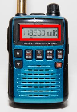 アイコムIC-R6 これでメモリーチャンネル「1006」へ周波数118.200MHzの登録ができました。