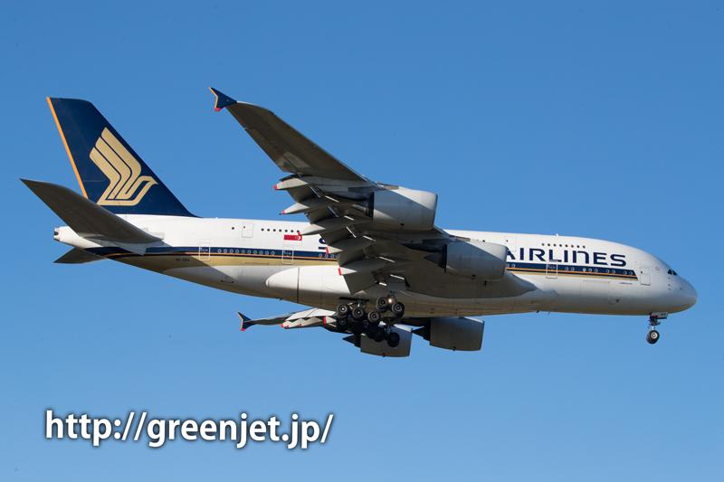 成田芝山水辺の里付近よりシンガポール航空のエアバスA380