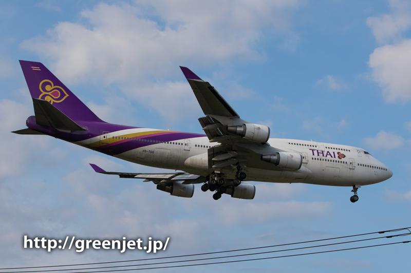 タイ国際航空のボーイング747-4D7/成田