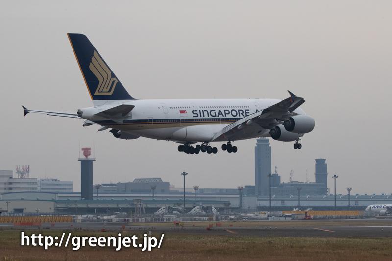 成田さくらの山よりシンガポール航空のエアバスA380