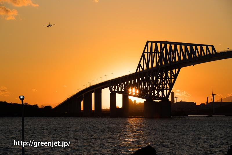 若洲海浜公園にて夕焼け空をバックに飛行機と東京ゲートブリッジ