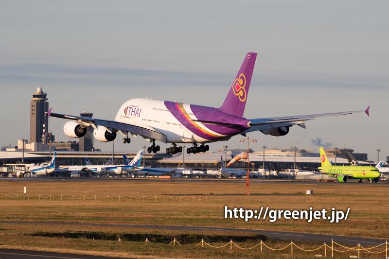 タイ国際航空のエアバスA380@畑ポイント