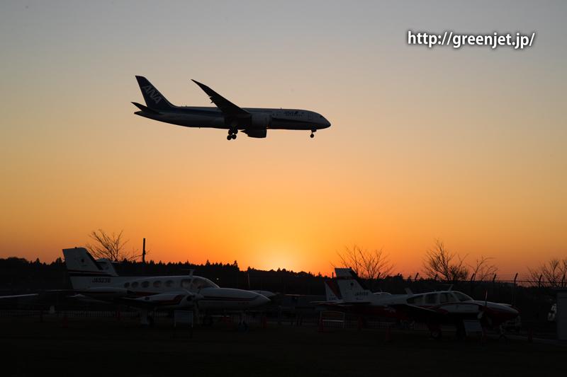 成田空港付近の夕陽とANAのボーイング787
