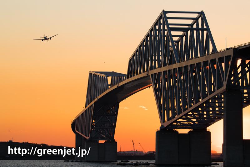 夕陽に輝く東京ゲートブリッジと飛行機