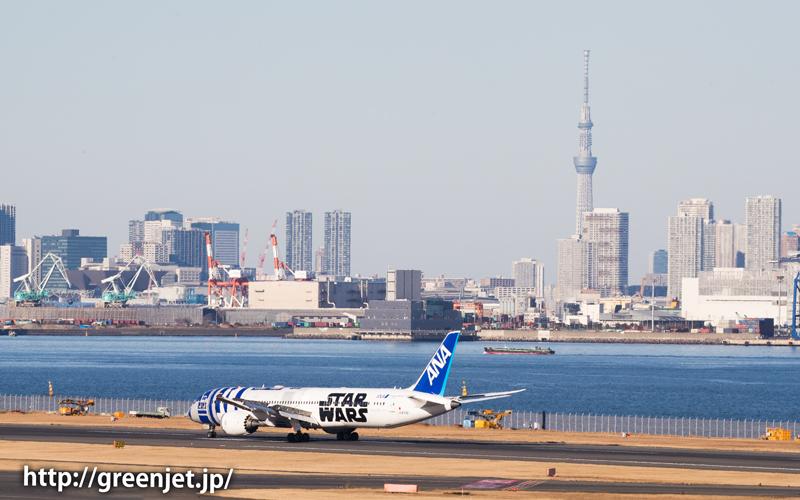 羽田空港のRWY34Rへ着陸するスターウォーズジェット/R2-D2