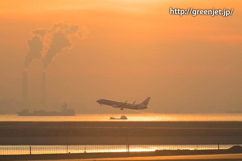 日本トランスオーシャン航空のB737@羽田の朝焼け