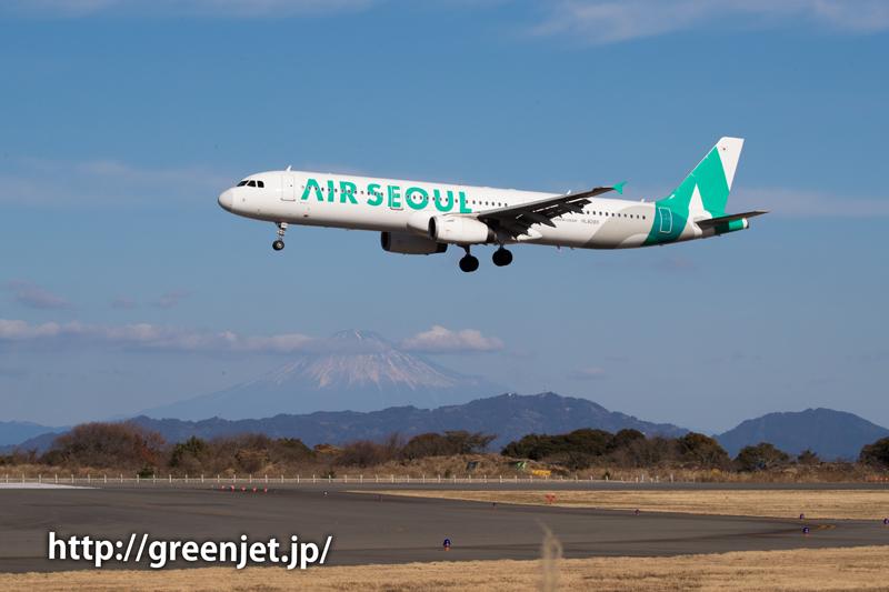 エア・ソウルのエアバスA320@富士山静岡空港