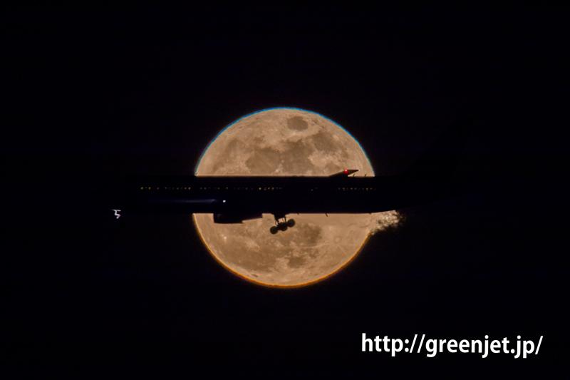 2018年1月の満月と飛行機