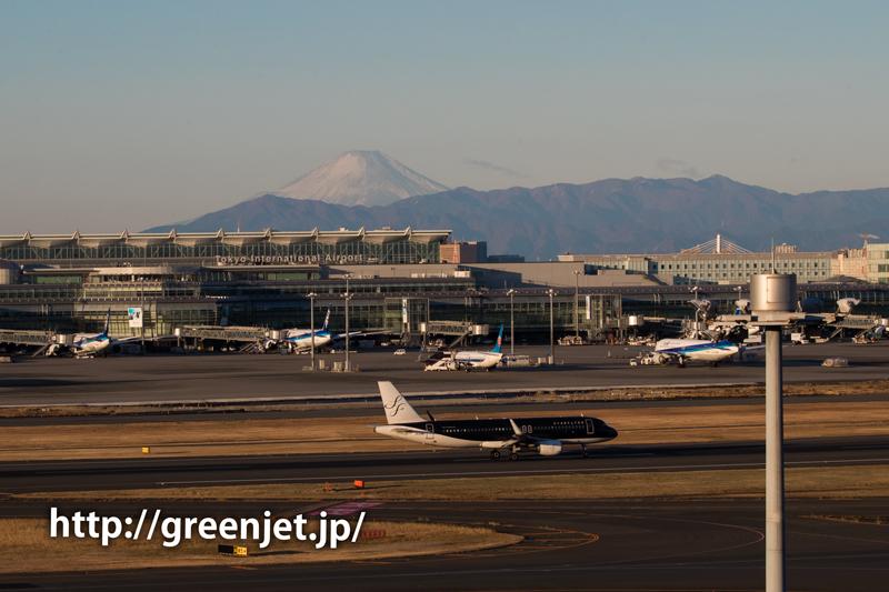 富士山とスターフライヤーのA320@羽田