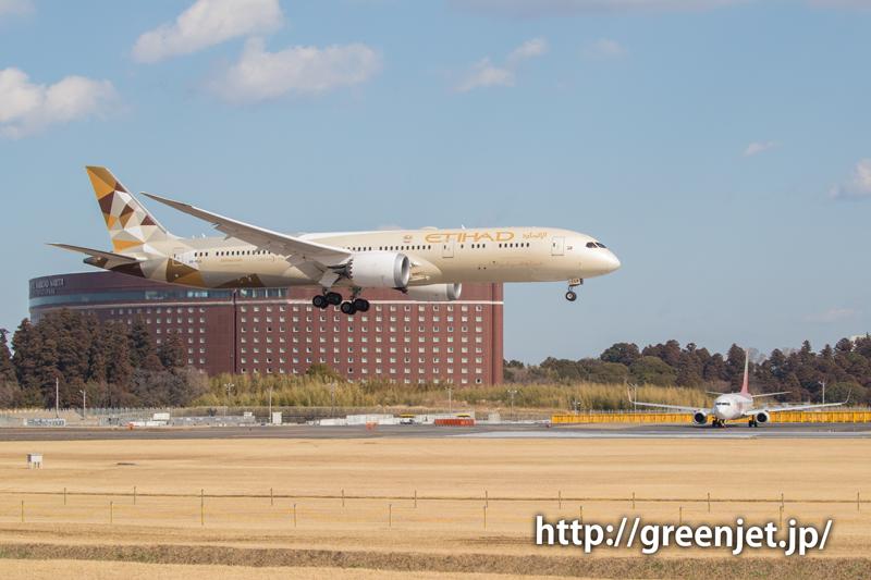 【成田の飛行機撮影スポット】ゲジポイント@エティハドのB787