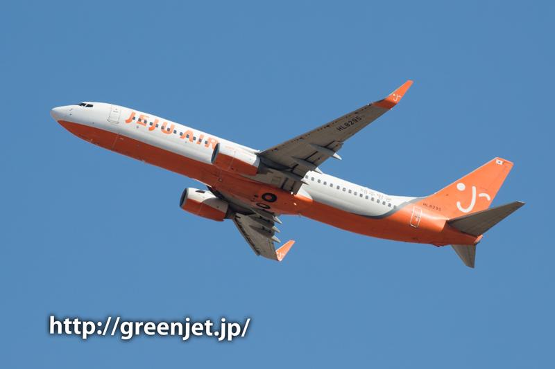 【成田の飛行機撮影スポット】さくらの山臨時駐車場@チェジュエアーのB737