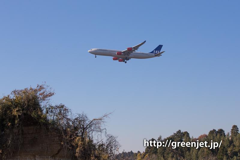 【成田の飛行機撮影スポット】駒井野の橋@スカンジナビア航空のエアバスA340