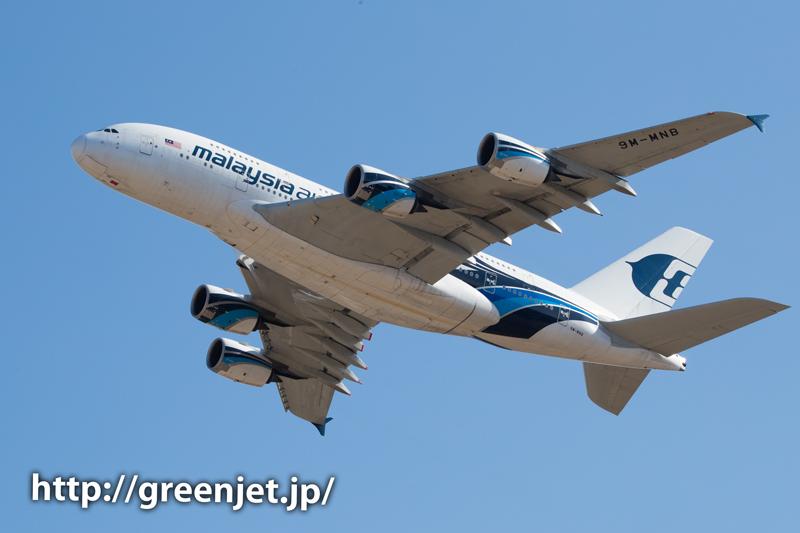 マレーシア航空のエアバスA380@さくらの山