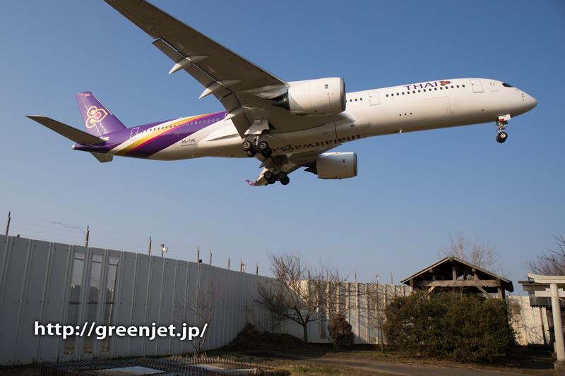 タイ国際航空のエアバスA350@東峰神社