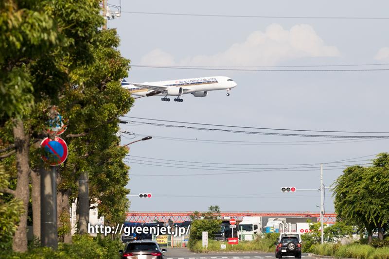 京浜島つばさ公園付近にて、シンガポール航空のA350