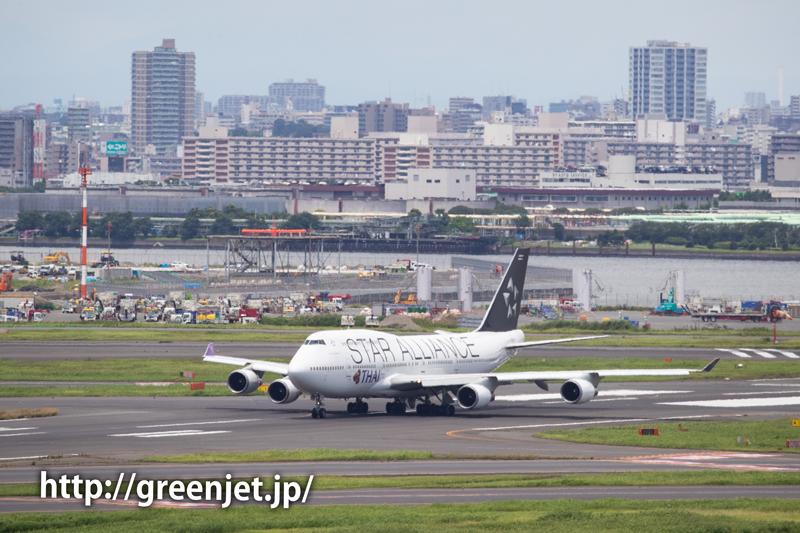 羽田のRWY16Rから離陸直前!タイのスタアラジャンボ