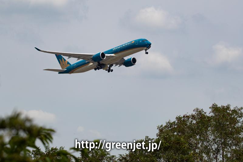 ベトナム航空のA350を超低アングルで激写@さくらの丘