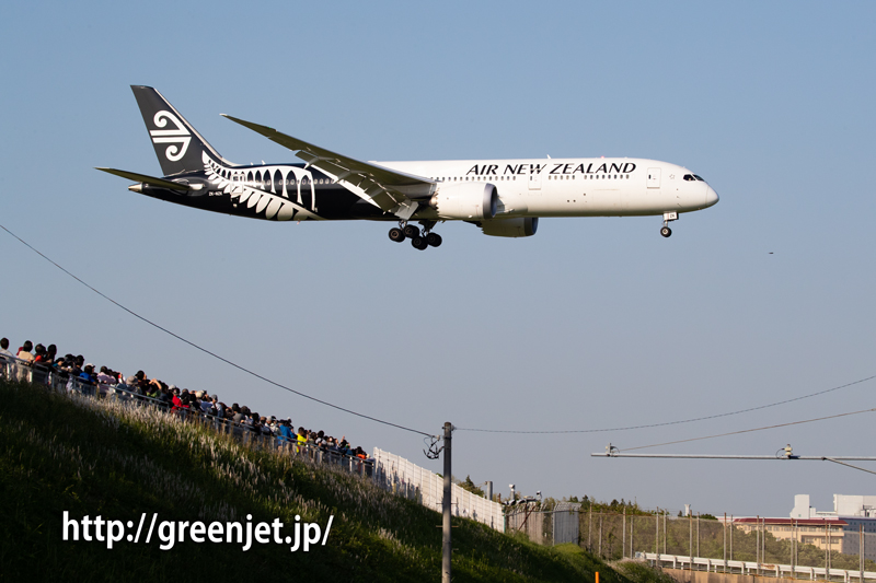 ニュージーランド航空のB787を超満員状態のさくらの山で