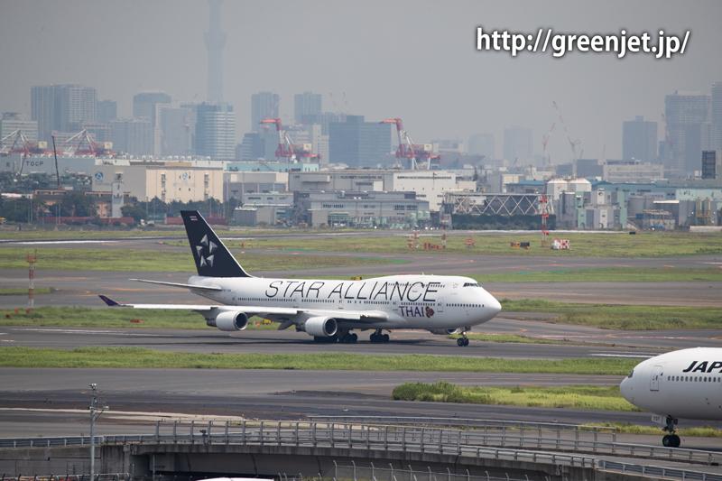 タイ国際航空のB747@羽田の国際ターミナル展望デッキ