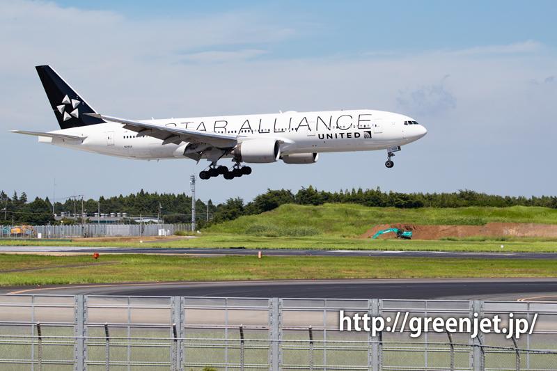 ユナイテッド航空のB777@スターアライアンス塗装機