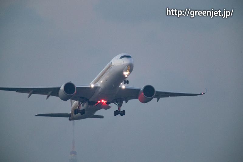 浮島から1200mmで捉えたシンガポール航空のA350