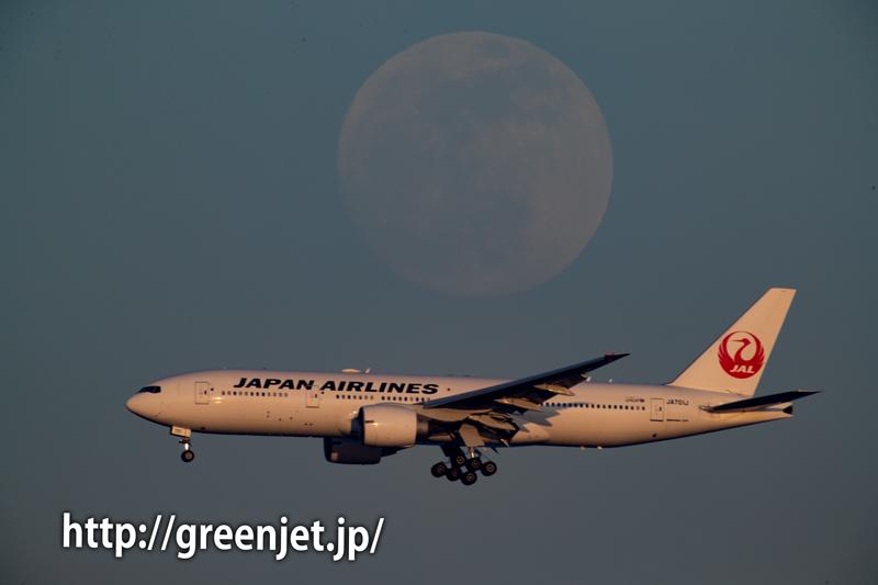 満月と飛行機~東扇島