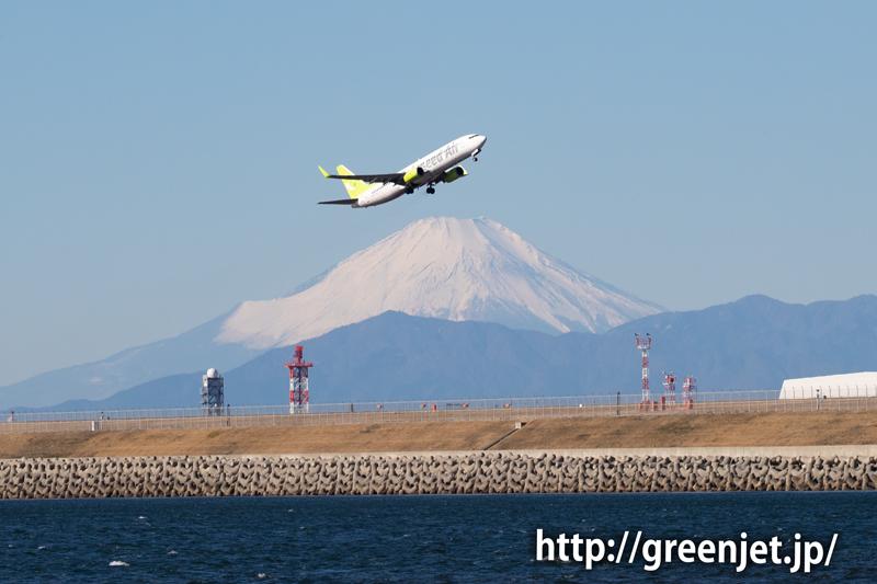 ソラシドのB737と富士山、最高!@羽田