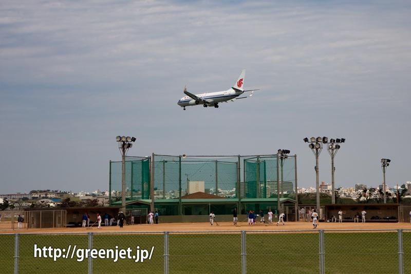 瀬長島野球場付近にて撮影した飛行機