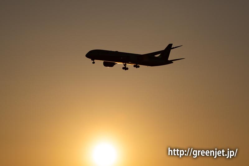 朝陽と飛行機@浮島