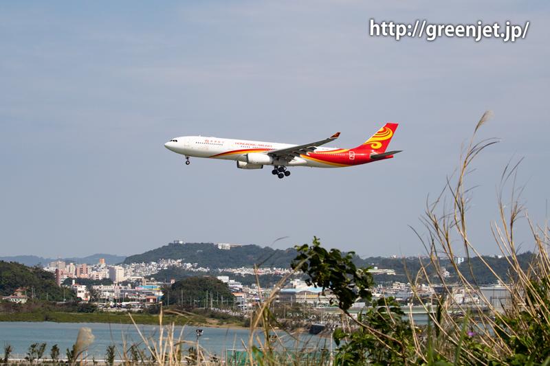 那覇空港へ進入する香港航空のエアバスA330