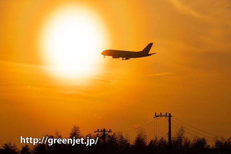 成田の夕焼け空とタイのエアバスA380