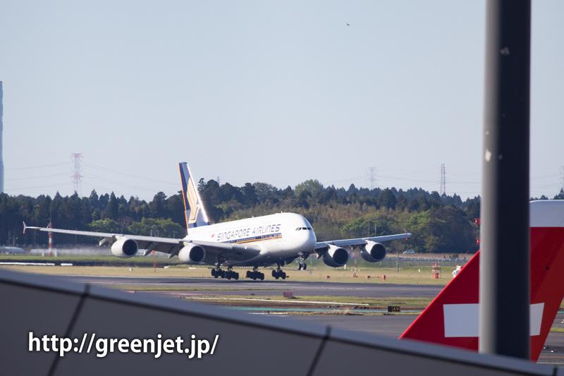 成田空港のRWY34Lへランディングするシンガポール航空のA380