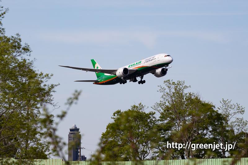 エバー航空のB787~RWY16R上がりを捉える!