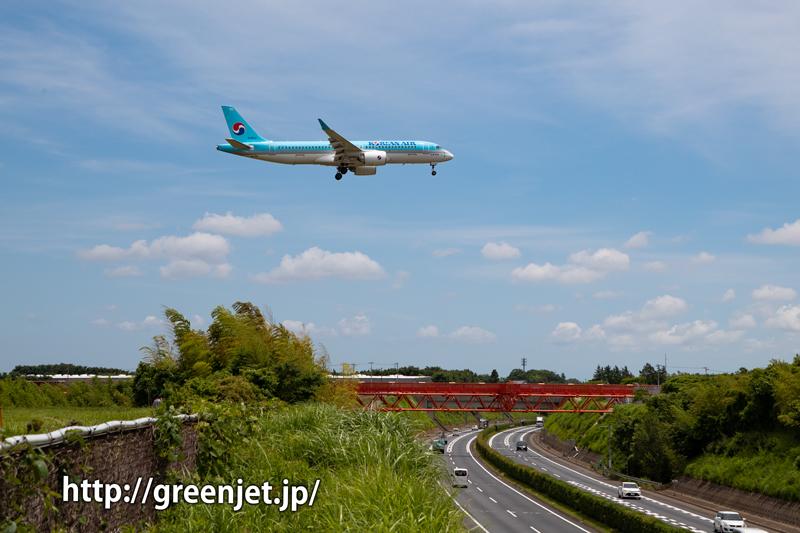 大韓航空のエアバスA220-300@野球場ポイント