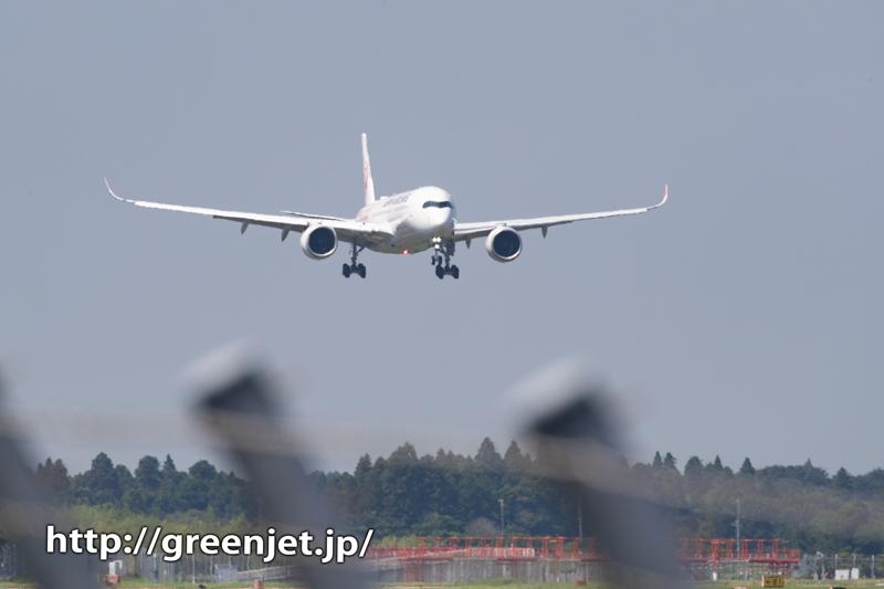 JAL エアバスA350の着陸を前で撮る