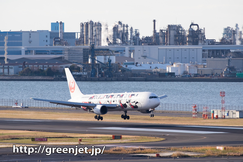 JALのミッキージェットと富士山&工場群