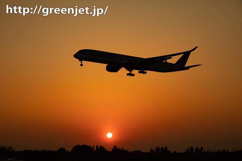 成田の夕日の世界に降りてきた飛行機はA350!