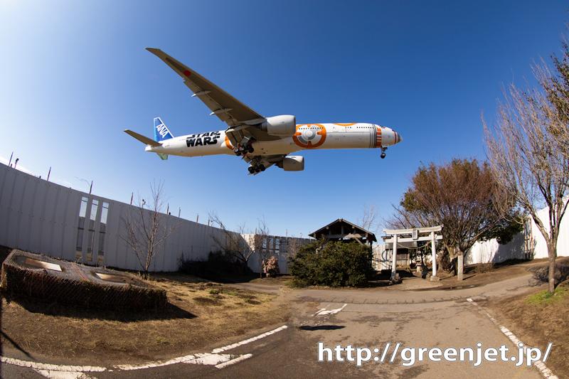 魚眼レンズとBB-8@成田~飛行機写真