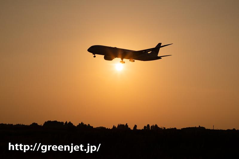 飛行機のお腹に太陽!夕日と飛行機写真