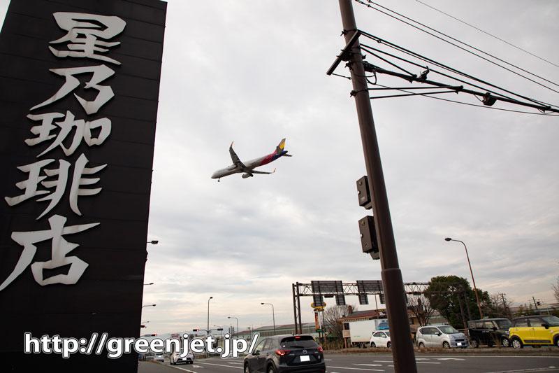 コーヒー屋の看板の向こうに飛行機~福岡
