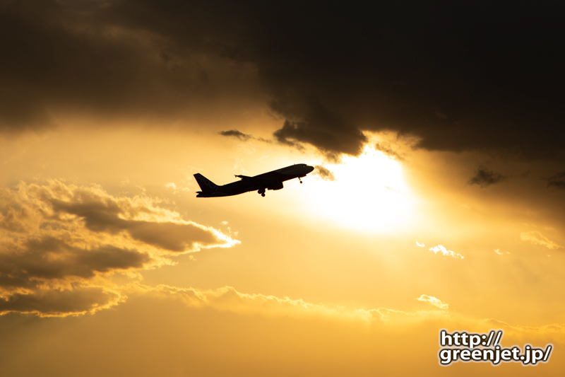 成田で飛行機~ピーチのA320が光の中へ