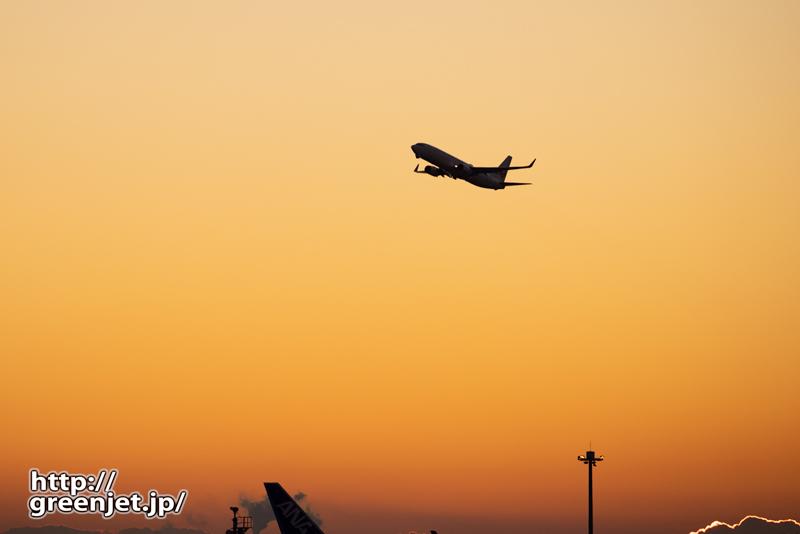 羽田で飛行機~1月10日のJL501@朝焼け