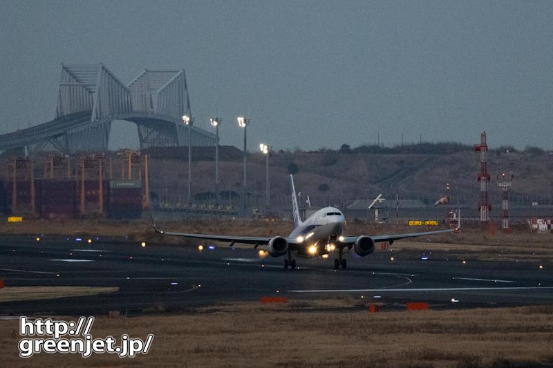 羽田で飛行機~南風の夜にゲートブリッジと