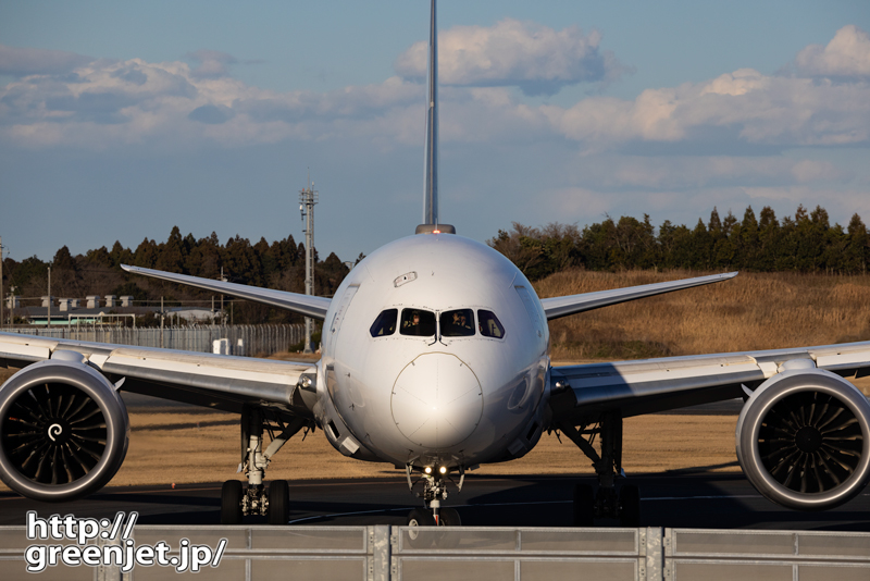 成田で飛行機~正面からお手振り