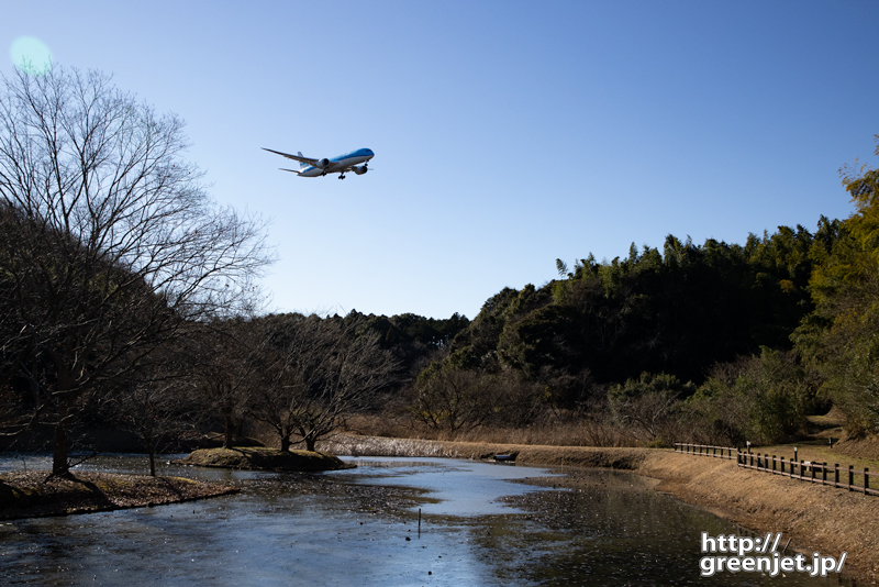 成田で飛行機~池と青いオランダの飛行機